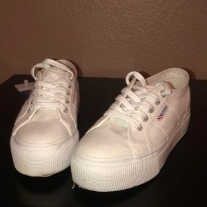White Platform Superga's